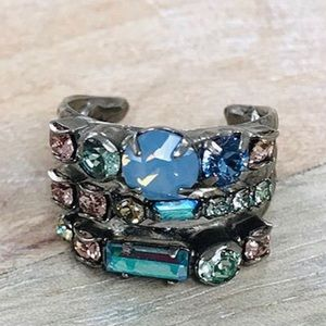 Sorrelli Triple Band Something Blue Crystal Ring